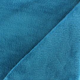 Sweat reverside Minkee velvet Fabric - duck blue x 10cm
