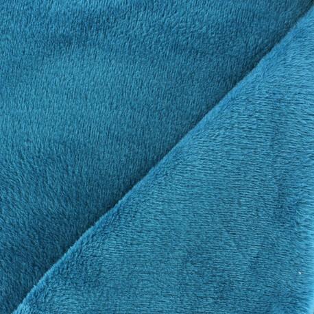 Tissu Velours éponge jersey Peace and Love Orange x 10cm