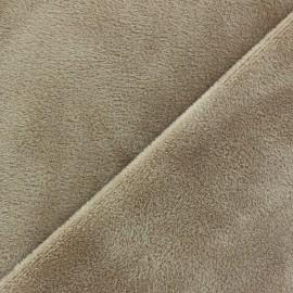 Tissu Velours éponge épais taupe x 10cm
