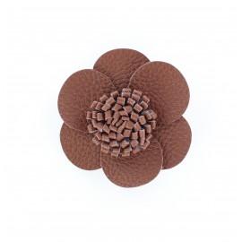 Broche/Pince Fleur Simili Cuir noisette