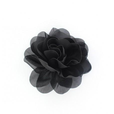 Satiny water Lily Flower Brooch - black