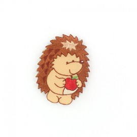 Happy Hedgehog Apple iron-on applique - brown