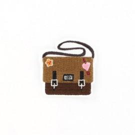 School schoolbag iron-on applique - brown