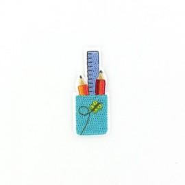 School pencil-cup iron-on applique - blue