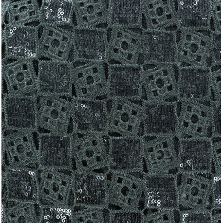 Sequined Lace Fabric - Checked x 10cm