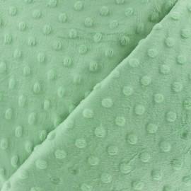 Tissu Velours minkee doux relief à pois bleu dragée x 10cm