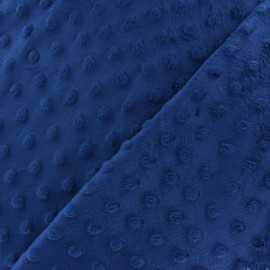 Soft relief minkee velvet fabric - navy dots x 10cm