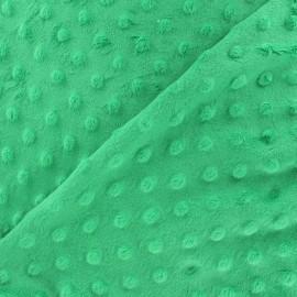 Tissu Velours minkee doux relief à pois marine x 10cm