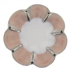Metal Button, Romantic Flower - pink