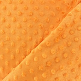Tissu Velours minkee doux relief à pois Glycine x 10cm