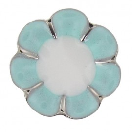 Metal Button, Romantic Flower - light blue