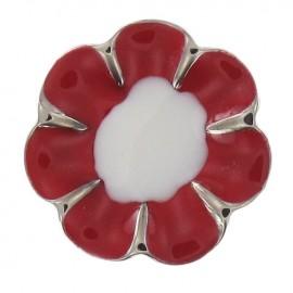 Bouton Métal Romantic Flower Red