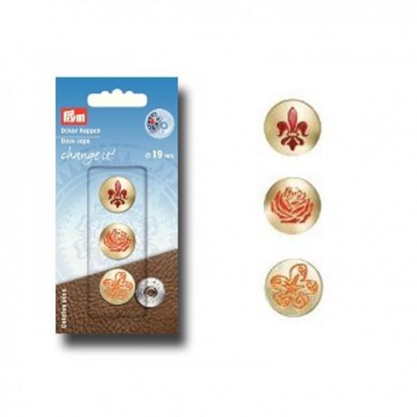 Prym 3 Deco Caps Flower 19mm (pack of 3) - golden
