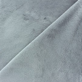 Soft short minkee velvet fabric - grey pearl x 10cm