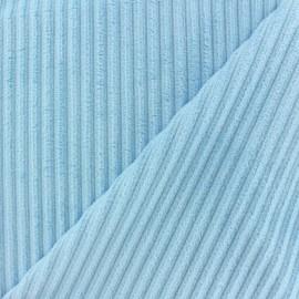 Minkee ribbed velvet fabric - blue dragée x 10cm