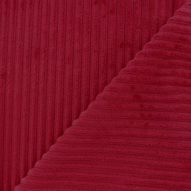 Tissu velours minkee à côtes carmin x 10cm