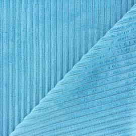 Minkee ribbed velvet fabric - blue lagoon x 10cm