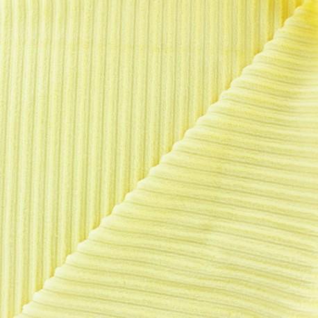 Tissu velours minkee à côtes Crème x 10cm