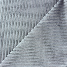 Tissu velours minkee à côtes Gris souris x 10cm