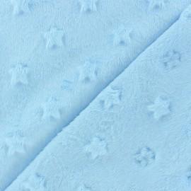 Tissu velours minkee doux relief à étoiles Bleu dragée x 10cm