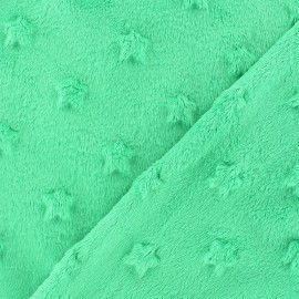 Soft relief minkee velvet stars fabric - green meadow x 10cm