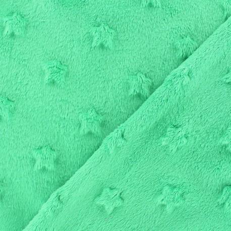 Tissu velours minkee doux relief à étoiles Marine x 10cm