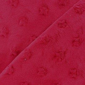 Soft relief minkee velvet stars fabric - carmin x 10cm