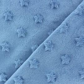 Tissu velours minkee doux relief à étoiles Bleu Lagon x 10cm