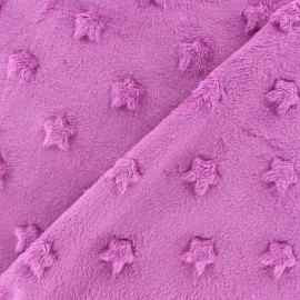Soft relief minkee velvet stars fabric - dark purple x 10cm