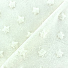 Soft relief minkee velvet stars fabric - cream x 10cm