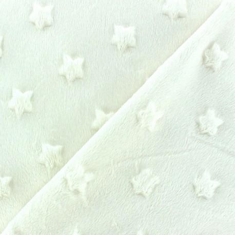 Tissu velours minkee doux relief à étoiles Violine x 10cm