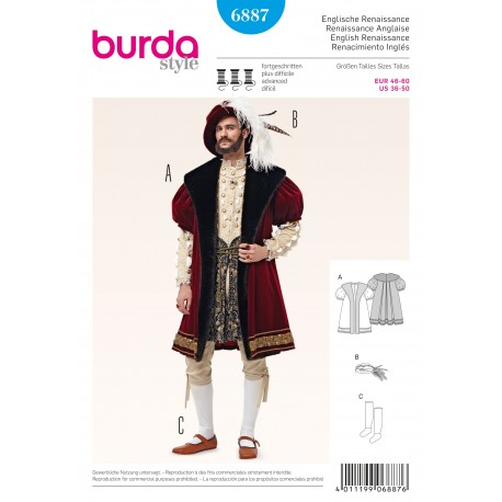 English Renaissance Sewing Pattern Burda n°6887