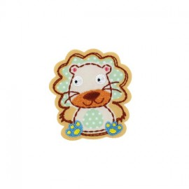 Lion, Animals iron-on applique - beige/almond polka dots/gingham