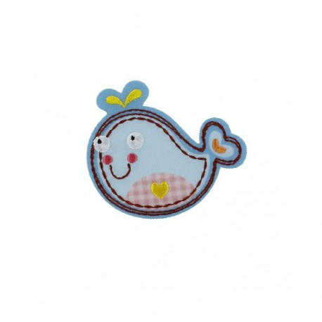 Whale, Animals iron-on applique - blue/pink gingham/polka dots