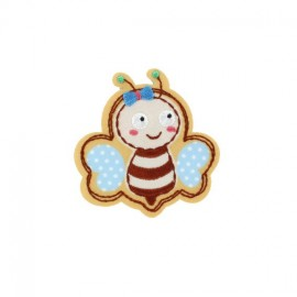 Bee, Animals iron-on applique - beige/sky blue gingham/polka dots