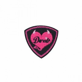 Coat-of-arms Little devil fun iron-on applique - fuchsia/black