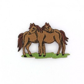 Horse couple A iron-on applique - brown