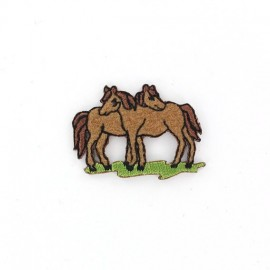 Horse couple B iron-on applique - brown