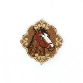 Baroque Horse portrait iron-on applique - brown