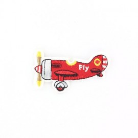 Fly Plane iron-on applique - red