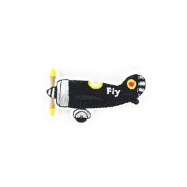 Fly Plane iron-on applique - black