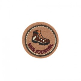 Hike Journal Badge iron-on applique - brown