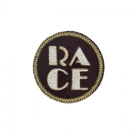Race Badge iron-on applique - brown
