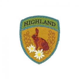 Highland Rabbit Badge iron-on applique - brown