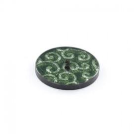 Bouton polyester Arabesques Pailletées Vertes