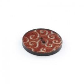 Bouton polyester Arabesques Pailletées Rouges