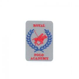 Royal Polo Academy iron-on applique - grey