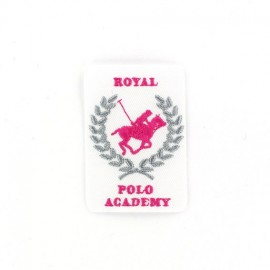 Royal Polo Academy iron-on applique - white/pink