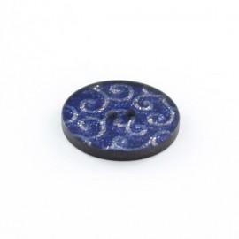 Bouton polyester Arabesques Pailletées Bleues