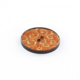 Bouton polyester Arabesques Pailletées Oranges